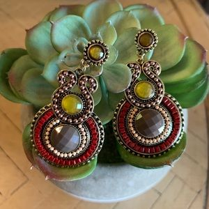 BOGO! Bohemian Jeweled Earrings Red Yellow Taupe